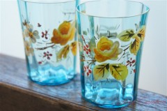 Hand Painted Aqua Blue Glass Set