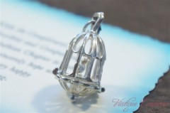 Silver Charm / Pendant Top :  Cage