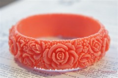 Coral Color Floral Celluloid Bangle