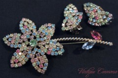【Weiss】 Rhinestone Brooch・Earrings Set