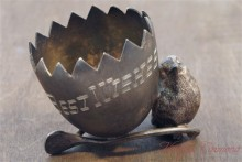 """Best Wishes"" Metal Toothpick Holder w/ Bird, Egg, Wishbone"
