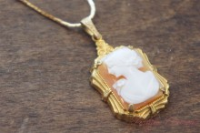 Signed Shell Cameo Pendant