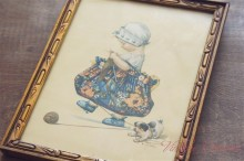 "【C.Twelvetrees】 ""Little Girl Knitting "" Print in Old Frame"