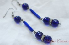 Venetian Cobalt Blue Glass Pierced Earrings