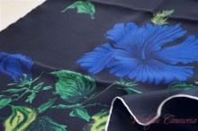 Black x Flower Silk Scarf
