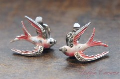 Enamel and Marcasite Bird Earrings