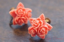 Coral Color Rose Celluloid Earrings