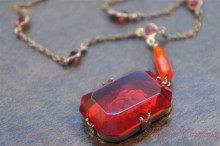 Rose Intaglio Glass Necklace