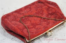 【Milch】 French Beaded Evening Handbag : Red