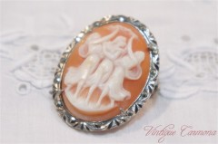 Silver x Marcasite Shell Cameo Brooch/Pendant Top