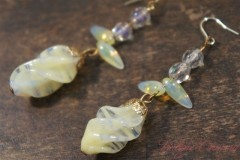 Marble Twisted Glass Beads Remake Pierced Earrings