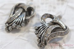 French Art Deco Rhinestone Clip Earrings