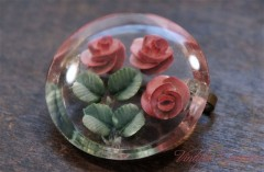 Reverse Carved Lucite Brooch / Red Rose