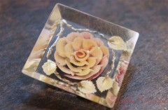 Reverse Carved Lucite Brooch / Yellow Rose