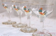 Chekin/Hen Print Cocktail Glass 4 pcs Set