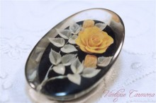 Reverse Carved Lucite Brooch / Orange Rose