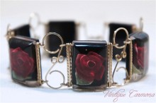 Reverse Carved Lucite Bracelet / Rose