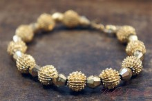 【TRIFARI】 Gold Tone Metal Beads Bracelet