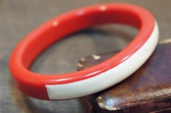 Red and White Lucite Bangle