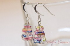 Rainbow Color Glass Remake Silver Pierced Earrings