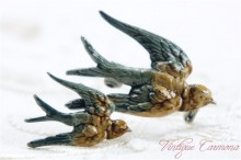Birds Enamel Colored Brooch