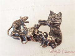 Silver Cat & Mice  Brooch