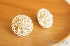 White Garland Screw Type Earrings