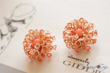 Orange Floral  Earrings