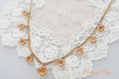 Peach Pink Cut Glass Necklace