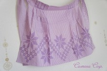 Gingham Check Cross-stitch Cafe Apron
