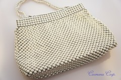 【Whiting & Davis】 White Metal Evening Bag
