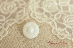Czech Glass Button  / White Flower 6pcs Set