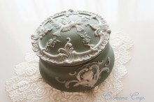 Unglazed Pottery Trinket Box / Birds & Angel