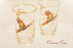 Birds Print Glass 2pcs Set /Pheasant