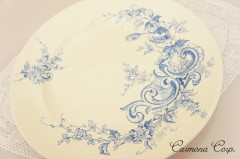 【HB&Cle】 Blue x White Rococo Plate C