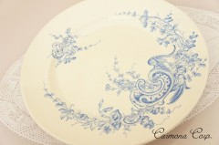 【HB&Cle】 Blue x White Rococo Plate F