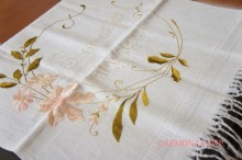 Embroidered Linen Cloth : Flower and Message