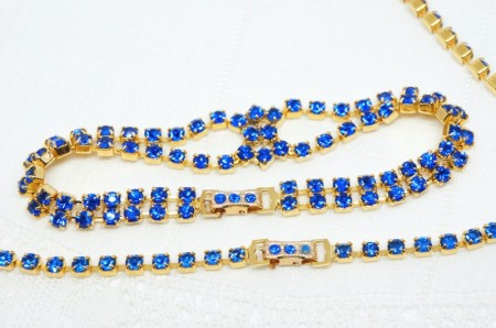 Blue Rhinestone Necklace/Bracelet/Earring Set