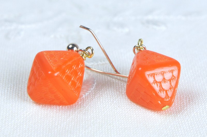 Orange Glass Beads Remake Pierced Earrings