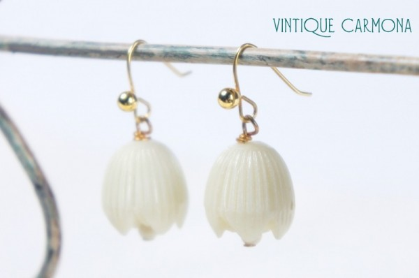White Beads Remake Pierced Earrings