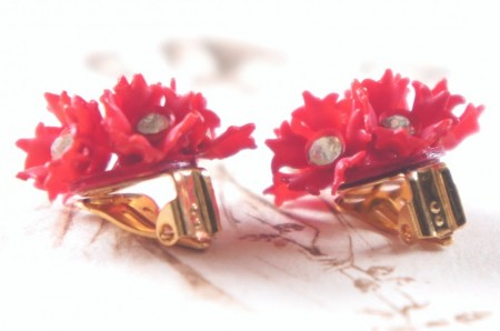 Red Flowers Clip Earrings