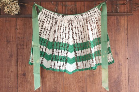 White & Green Crocheted Half Apron