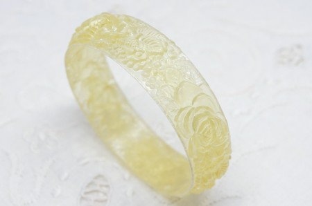 Clear Yellow Lucite Floral Bangle