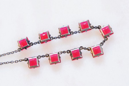 Square Cut Pink Glass Necklace
