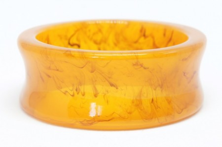 Lucite Bangle :  Light Brown Orange Marble