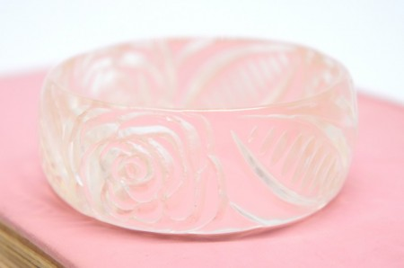 Hand Carved Clear Lucite Bangle