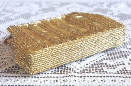 Gold Color Beads Evening Bag