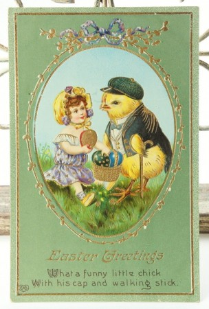 Postcard * Easter chick & girl  *
