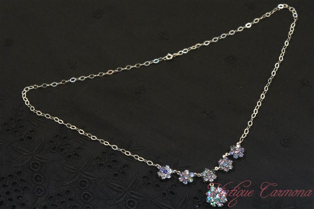 Iris Glass Flower Link Necklace