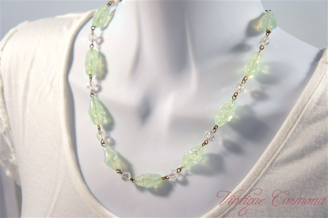 Bi-Color Art Glass Beads Necklace